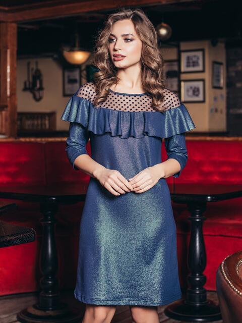 859806ba786b Синее платье с оборкой и кокеткой в горошины - 18659, фото 1 – интернет-