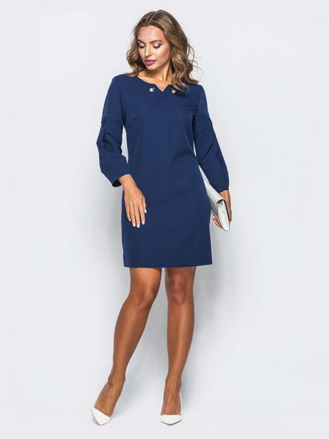 Темно-синее платье-мини с жемчужным украшением - 16929, фото 1 – интернет-магазин Dressa