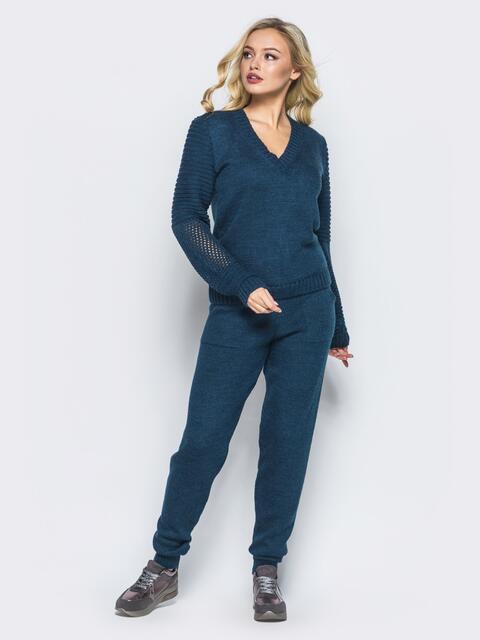 Тёмно-синий комплект с накладными карманами на брюках - 16087, фото 2 – интернет-магазин Dressa