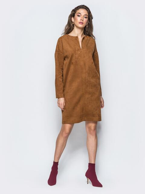 35ed041fcb3cff7 Замшевое платье свободного кроя коричневое - 17244, фото 1 –  интернет-магазин Dressa