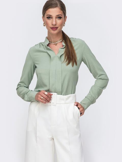 Зеленая блузка прямого кроя с воротником-стойкой 49640, фото 1