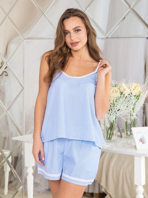 Хлопковый комплект в полоску с шортами голубой - 20416, фото 1 – интернет-магазин Dressa