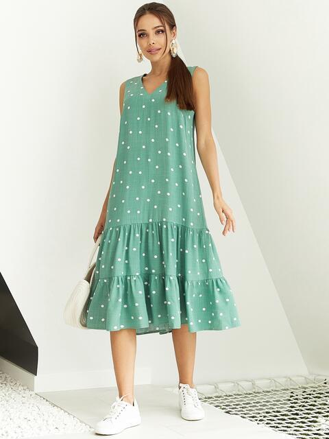 Мятное платье А-силуэта в горох с воланом по низу 54138, фото 1
