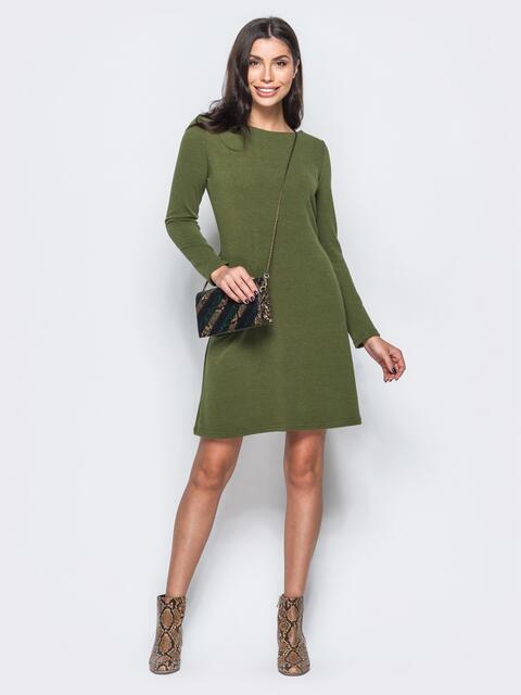 Платье цвета хаки из ангоры без застёжек - 17589, фото 1 – интернет-магазин Dressa
