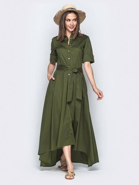 Платье-макси с удлиненной спинкой хаки 21956, фото 1