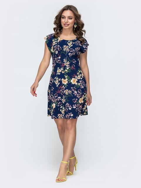 Платье приталенного силуэта синее в цветочный принт 47018, фото 1