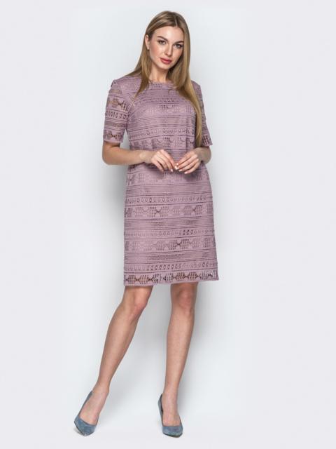 Пудровое платье из кружева прямого кроя - 21396, фото 1 – интернет-магазин Dressa