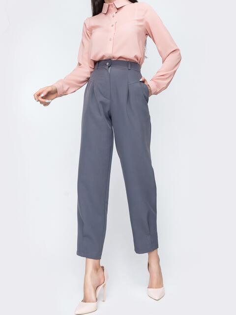 Серые брюки с завышенной талией 45802, фото 1