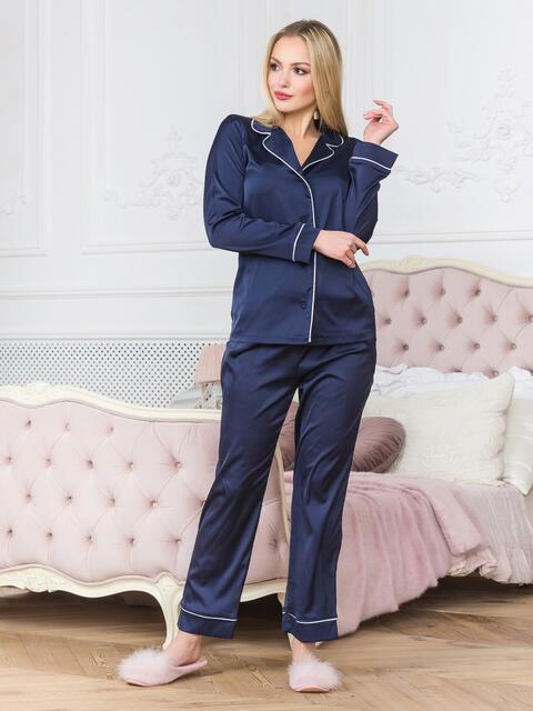Синяя пижама с окантовкой на рубашке и брюках - 18940, фото 1 – интернет-магазин Dressa