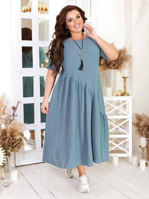 Свободное платье бльшого размера голубое 47567, фото 1