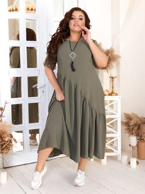 Свободное платье бльшого размера хаки 47569, фото 1