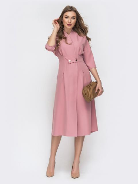 Свободное платье на запах пудрового цвета 45806, фото 1
