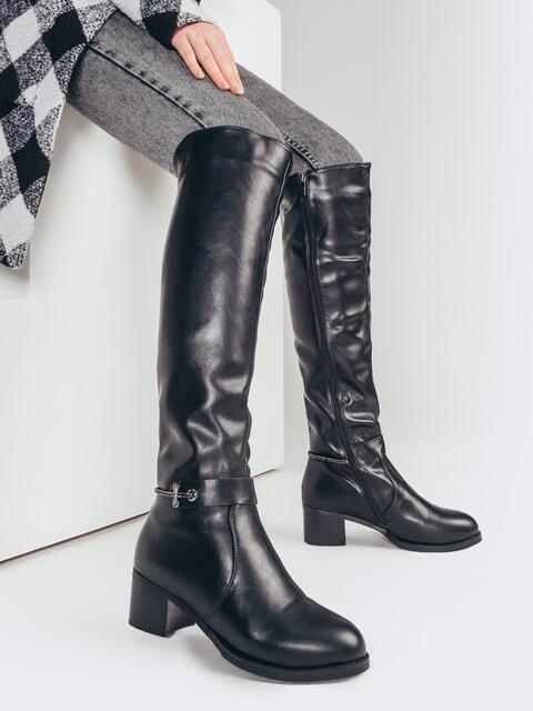 Высокие сапоги на зиму с устойчивым каблуком черные 51809, фото 1