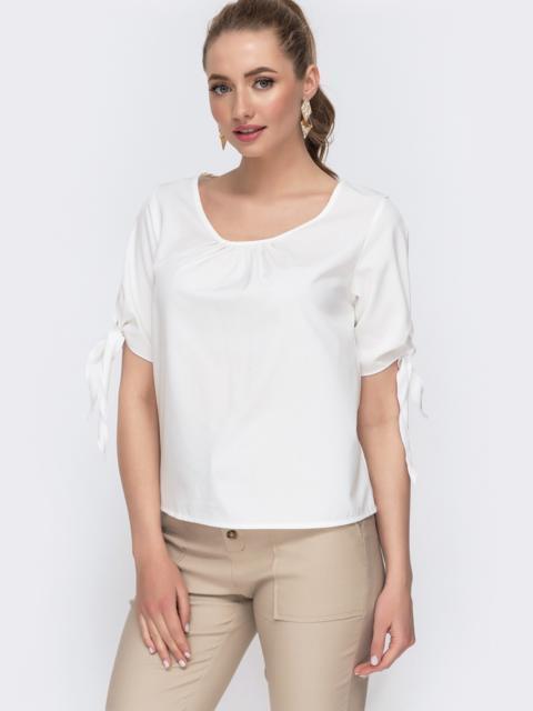 Белая блузка свободного кроя с завязками 47440, фото 1