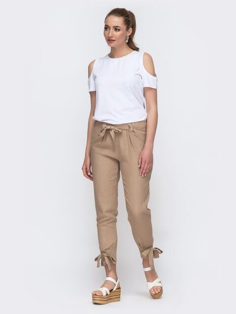Бежевый брючный комплект с белой футболкой  - 47446, фото 1 – интернет-магазин Dressa