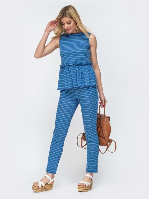 Комплект в полоску из блузки и брюк голубого цвета 47447, фото 1