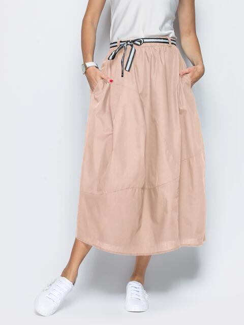 Льняная юбка бежевого цвета с карманами - 39381, фото 1 – интернет-магазин Dressa