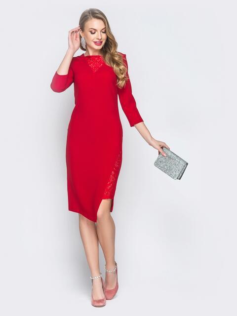 Платье красного цвета со вставками из кружева - 18668, фото 1 – интернет-магазин Dressa