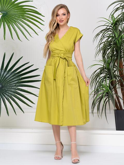 Платье-миди приталенного кроя желтое 48794, фото 1