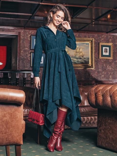 Платье-рубашка тёмно-зелёного цвета с ассиметричным низом - 19222, фото 1 – интернет-магазин Dressa