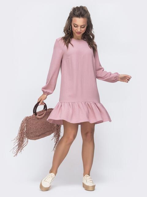 Платье свободного кроя с воланом по низу розовое 47463, фото 1