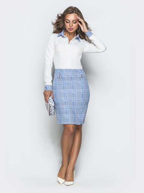 Приталенное платье в клетку с контрастным верхом голубое - 40022, фото 1 – интернет-магазин Dressa