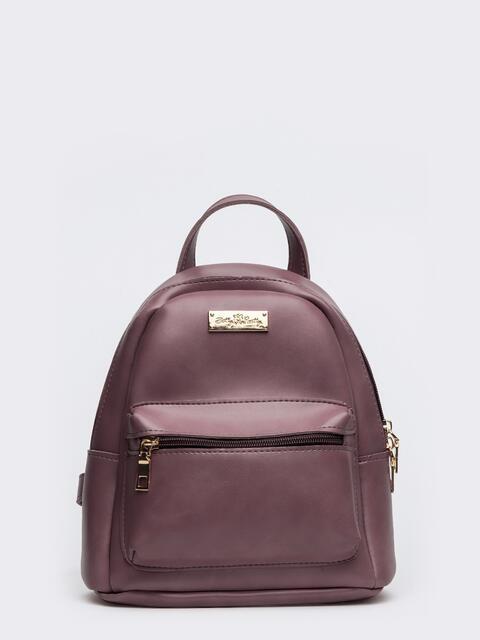 Пудровый рюкзак из эко-кожи с наружными карманами - 20562, фото 1 – интернет-магазин Dressa