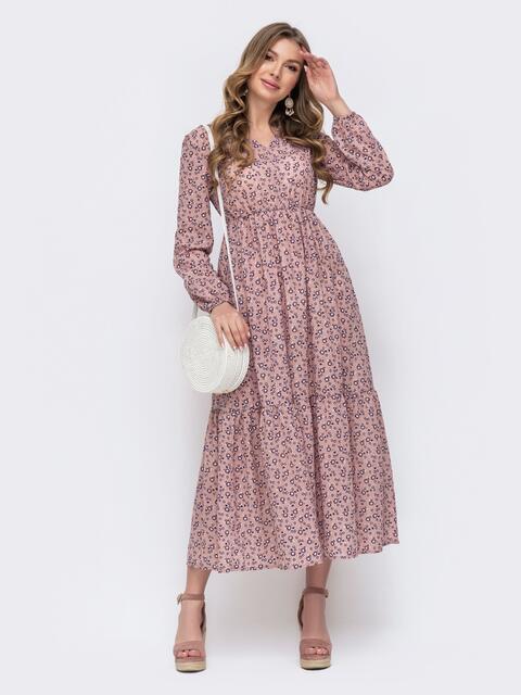 Розовое платье–макси приталенного кроя с принтом  47459, фото 1