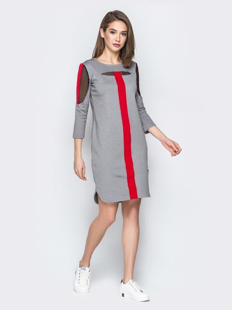 Серое платье с контрастными вставками - 19722, фото 1 – интернет-магазин Dressa