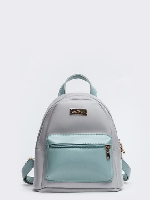 Серый рюкзак из эко-кожи с наружными карманами - 20548, фото 1 – интернет-магазин Dressa