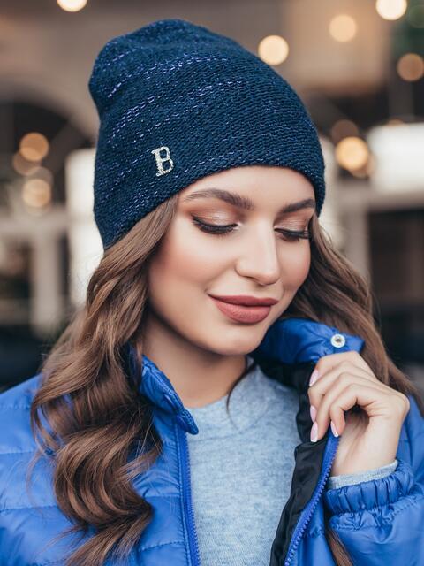 Тёмно-синяя шапка-колпак с напылением 40462, фото 1
