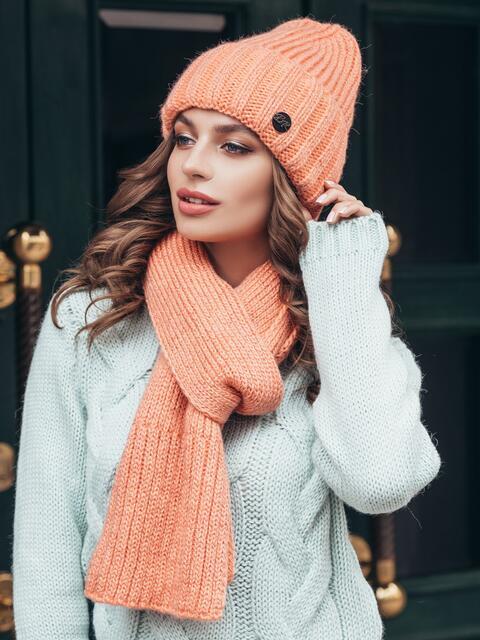 Вязанный комплект из шапки с шарфом персиковый 40435, фото 1