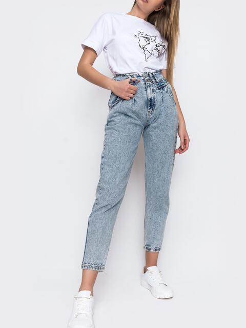 Выбеленные джинсы-бананы голубого цвета - 48090, фото 1 – интернет-магазин Dressa