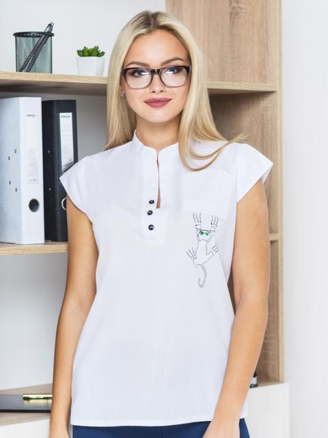 Блузка с рукавом-крылышко и перевернуты карманом - 14136, фото 1 – интернет-магазин Dressa