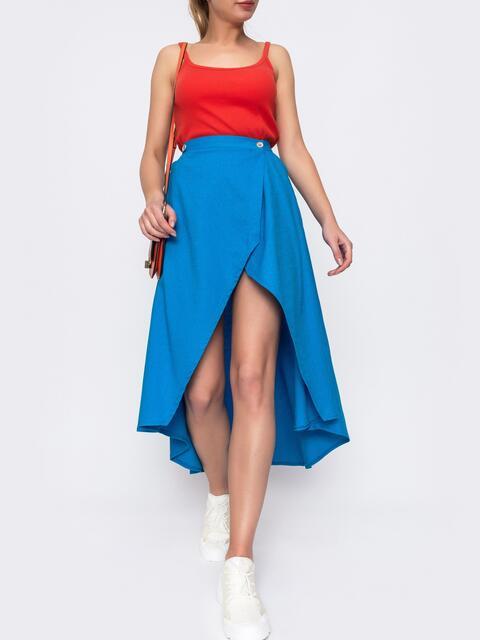 Голубая юбка на запах с удлиненной спинкой 48146, фото 1