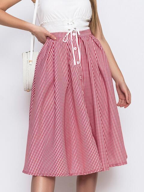 Красная юбка в клетку на пуговицах 48149, фото 1