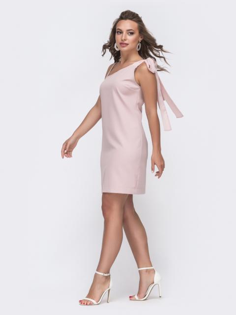 Платье пудрового цвета с асимметричным верхом - 48143, фото 3 – интернет-магазин Dressa