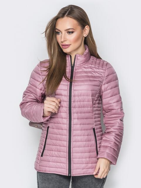 Розовая куртка с воротником-стойкой и карманами - 20289, фото 1 – интернет-магазин Dressa