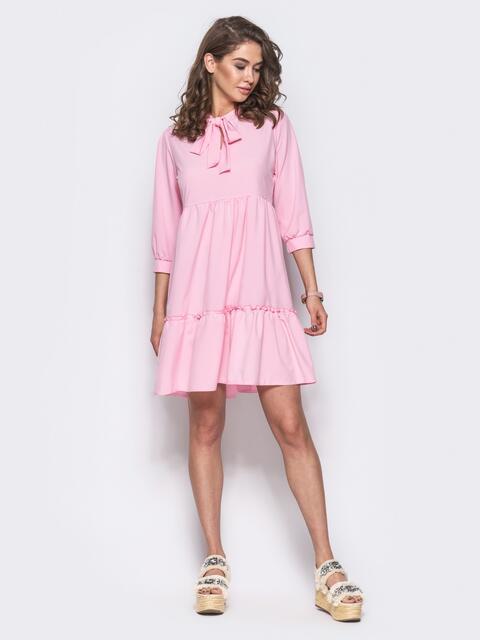 Розовое двухъярусное платье с бантом по горловине - 11705, фото 1 – интернет-магазин Dressa