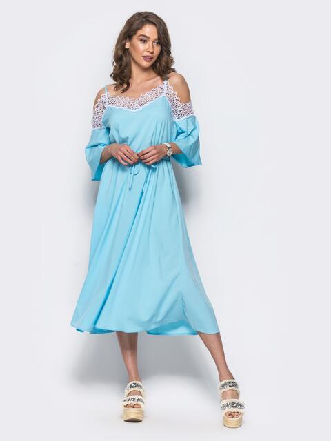 Сарафан из софта с гипюром по верху голубой - 11949, фото 1 – интернет-магазин Dressa