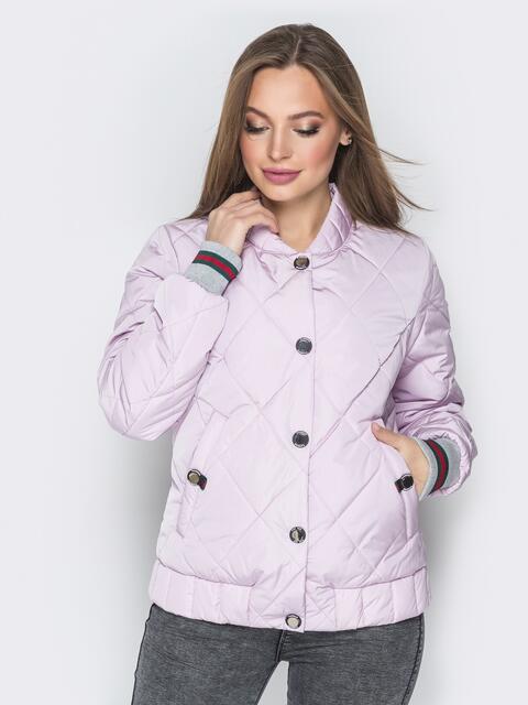 Стёганая куртка на кнопках с карманами розовая - 20250, фото 1 – интернет-магазин Dressa