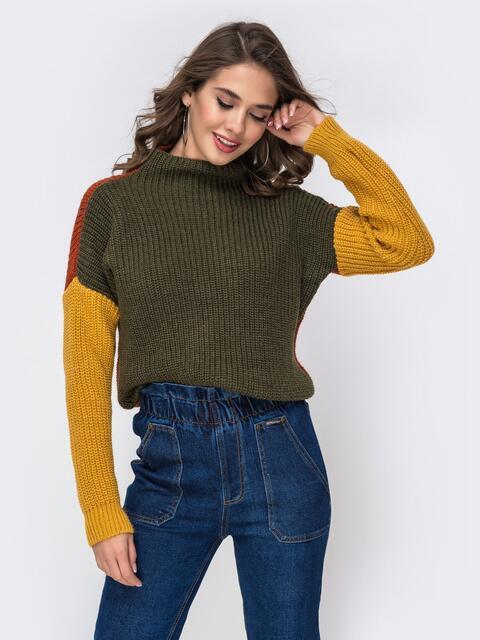 Тёмно-зелёный свитер крупной вязки с высоким воротником 42181, фото 1
