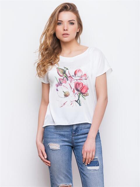 Укороченная блузка с цветочным принтом - 13432, фото 1 – интернет-магазин Dressa