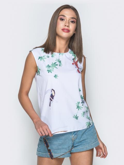 Белая блузка из креп-шифона с авторским принтом - 38732, фото 1 – интернет-магазин Dressa