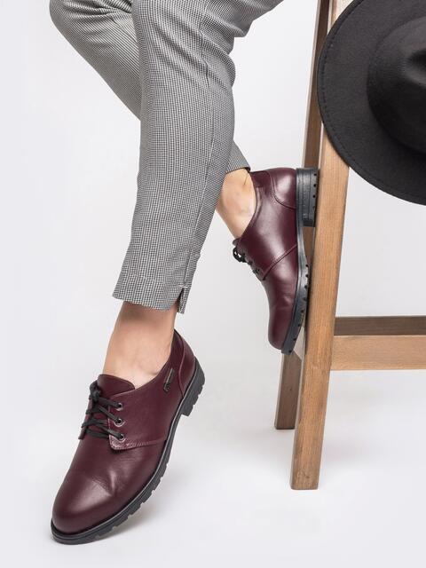 Бордовые туфли-дерби из натуральной кожи - 41622, фото 1 – интернет-магазин Dressa