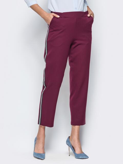 Бордовые укороченные брюки с лампасами  - 16286, фото 1 – интернет-магазин Dressa
