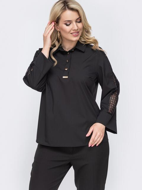 Чёрная блузка батал с кружевными вставками на рукавах 49999, фото 1