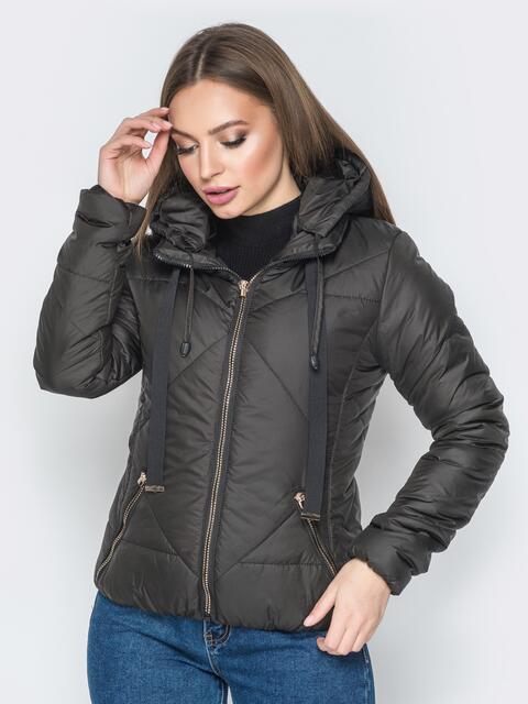 Чёрная куртка со съемным капюшоном на молнии - 20066, фото 1 – интернет-магазин Dressa