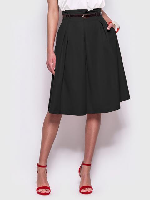 Чёрная расклешенная юбка с карманами по бокам - 44954, фото 1 – интернет-магазин Dressa