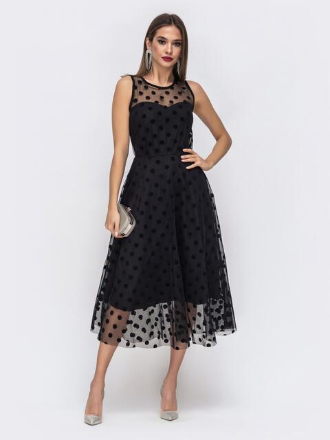 Чёрное платье приталенного кроя из фатина в горох - 43042, фото 1 – интернет-магазин Dressa